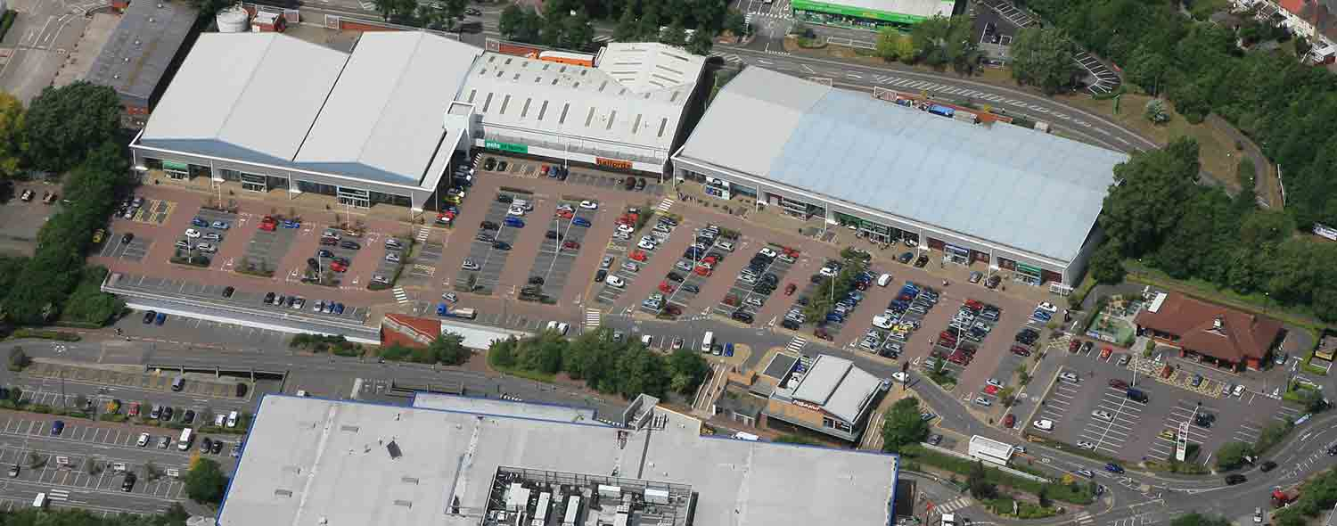 Aerial view of Eastgate Retail Park