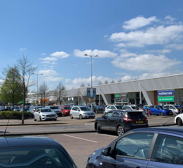 Eastgate Retail Park shown from the car park